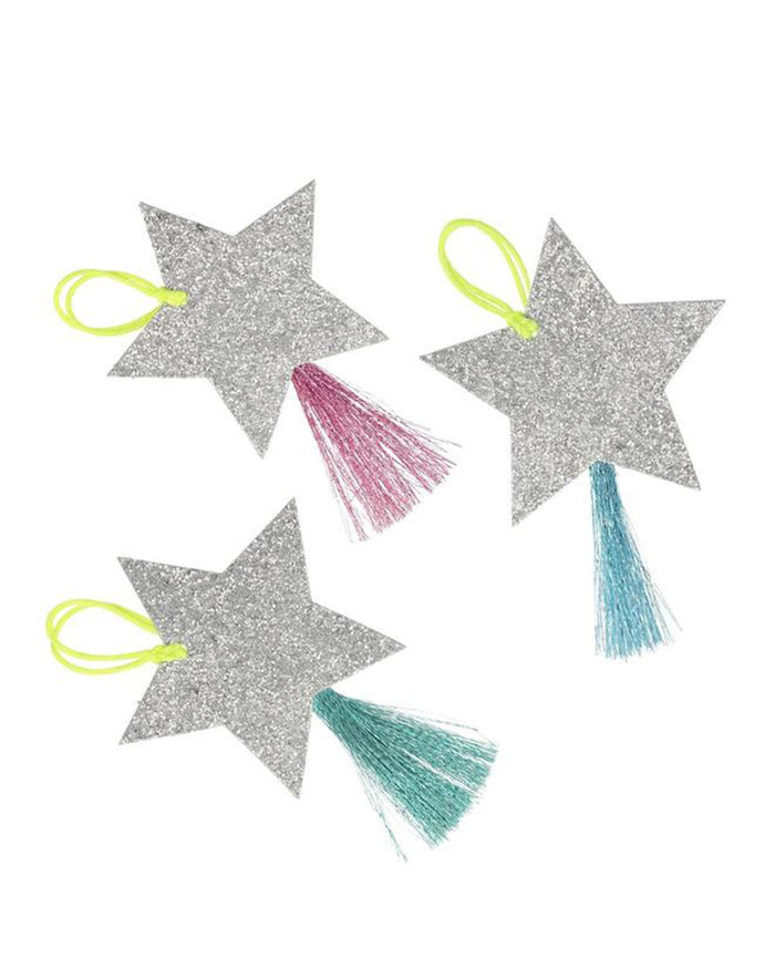 Little meri meri paper+party silver sparkle star gift tags