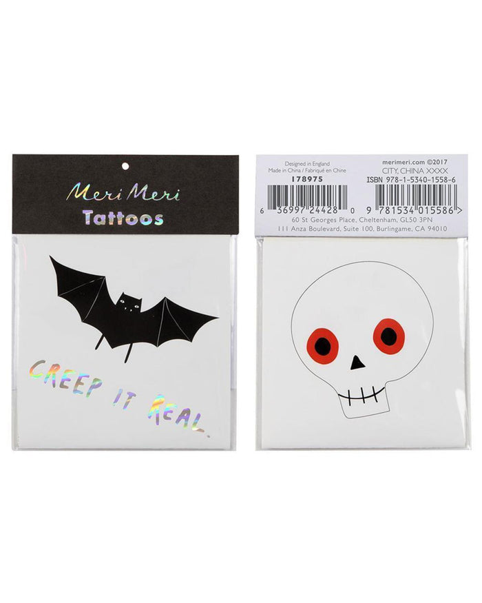 Little meri meri paper+party skull + bat tattoos