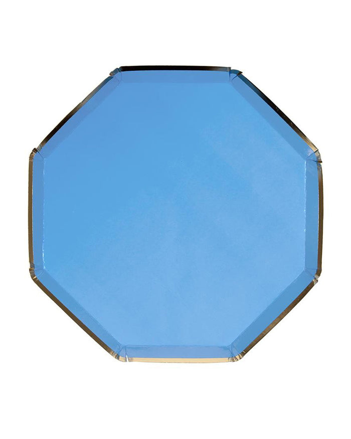 Little meri meri paper+party small blue octagonal plate