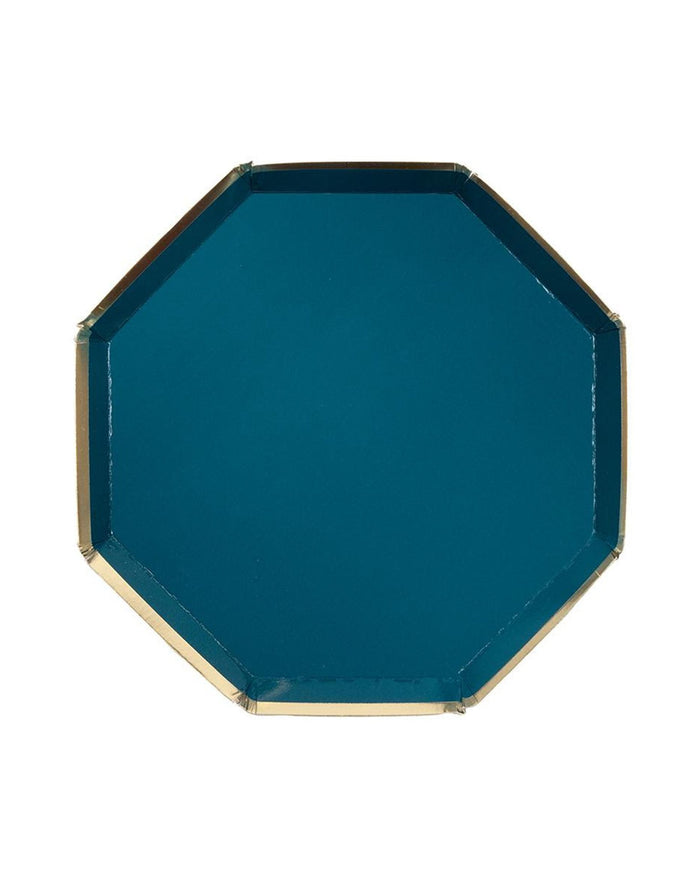 Little meri meri paper+party small dark green octagonal plate
