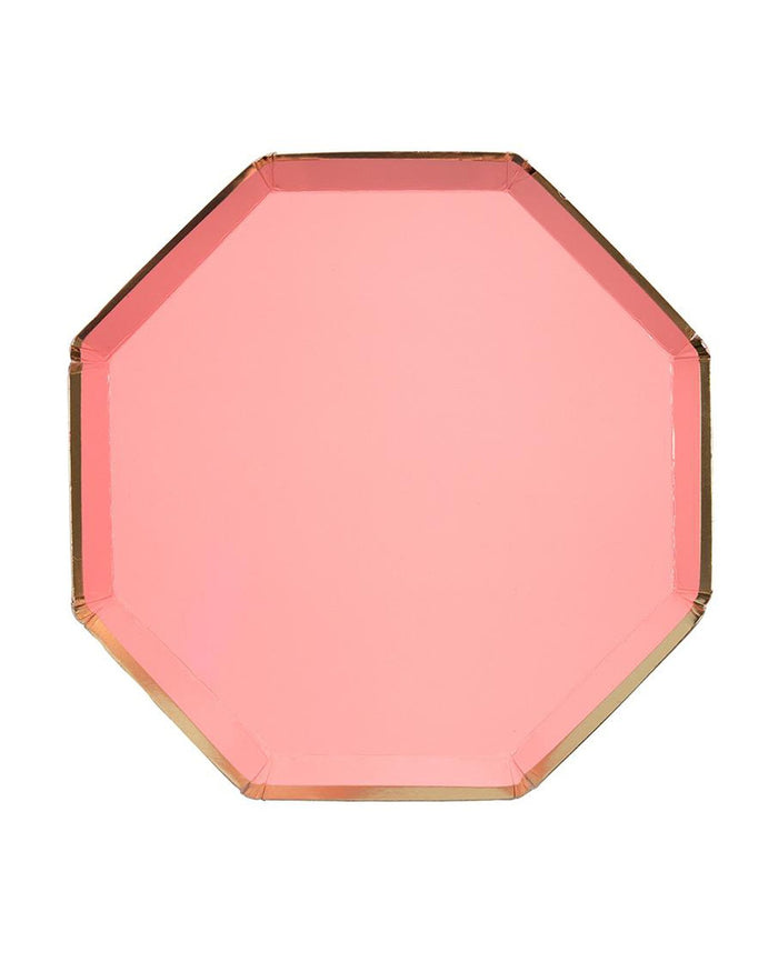 Little meri meri paper+party small neon coral octagonal plates