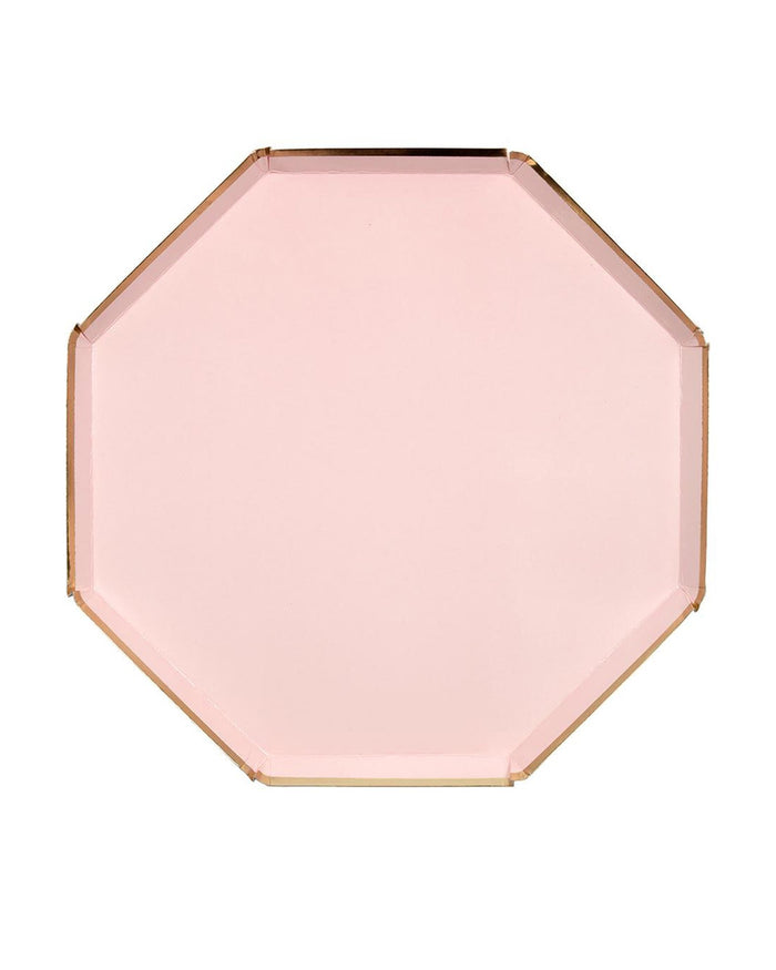 Little meri meri paper+party small pale pink octagonal plate