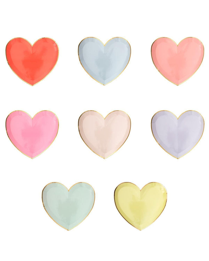 Little meri meri paper+party small pastel palette heart plates