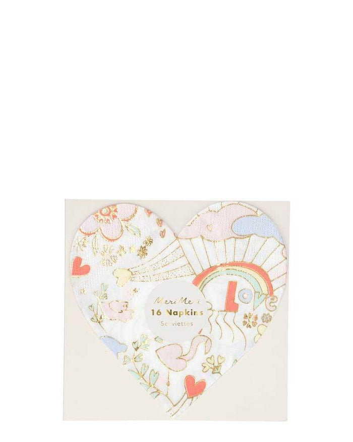 Little meri meri paper+party small valentine doodle napkins