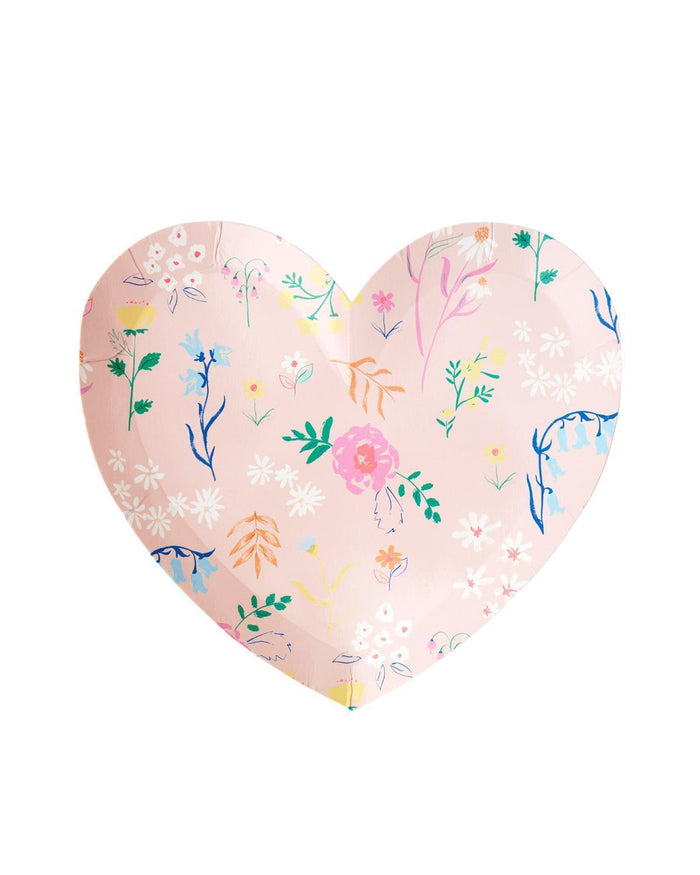 Little meri meri paper+party small wildflower heart plates