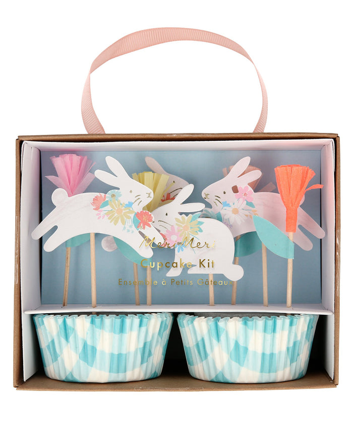 Little meri meri paper + party spring bunny cupcake kit