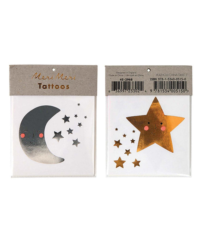 Little meri meri paper+party Star + Moon Tattoos