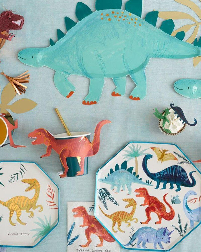 Little meri meri paper+party stegosaurus platters