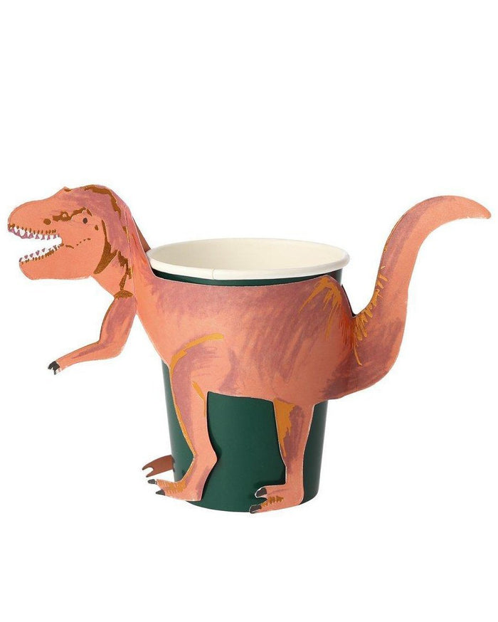 Little meri meri paper+party t-rex party cups