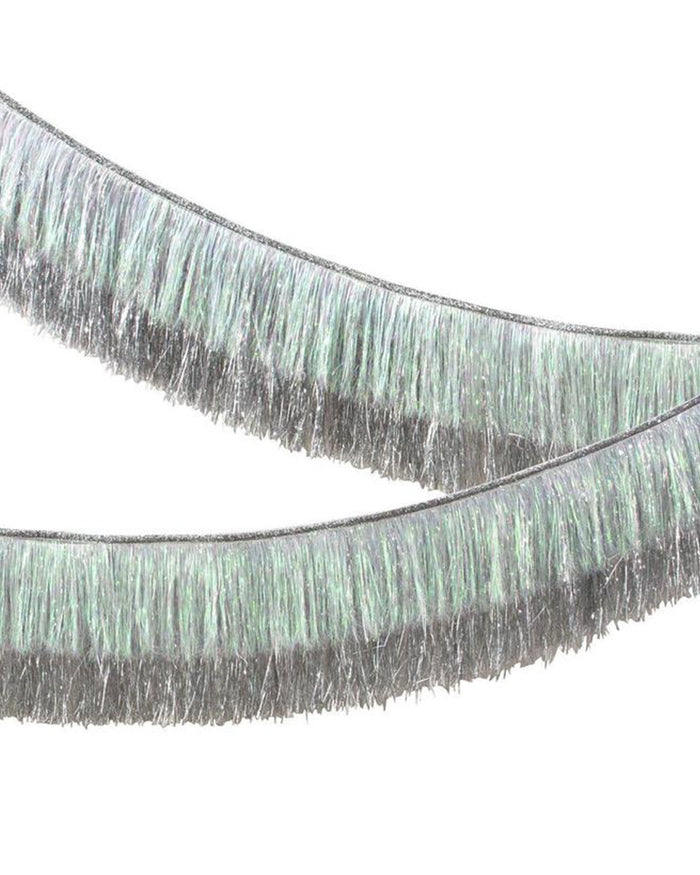 Little meri meri paper+party tinsel fringe garland in silver iridescent