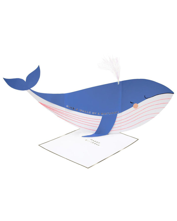 Little meri meri paper+party whale stand-up card