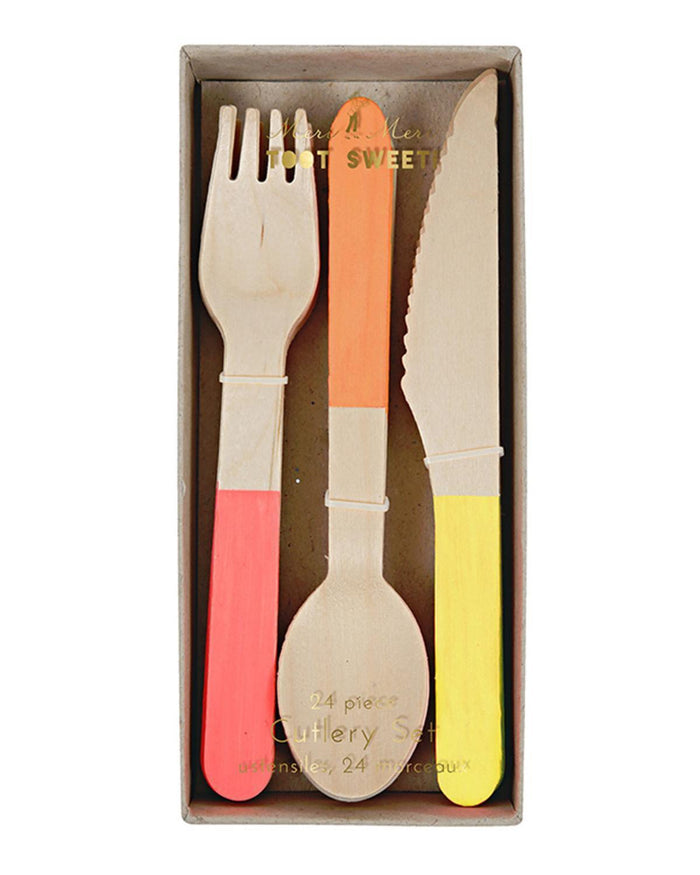 Little meri meri paper+party Wooden Cutlery in Neon