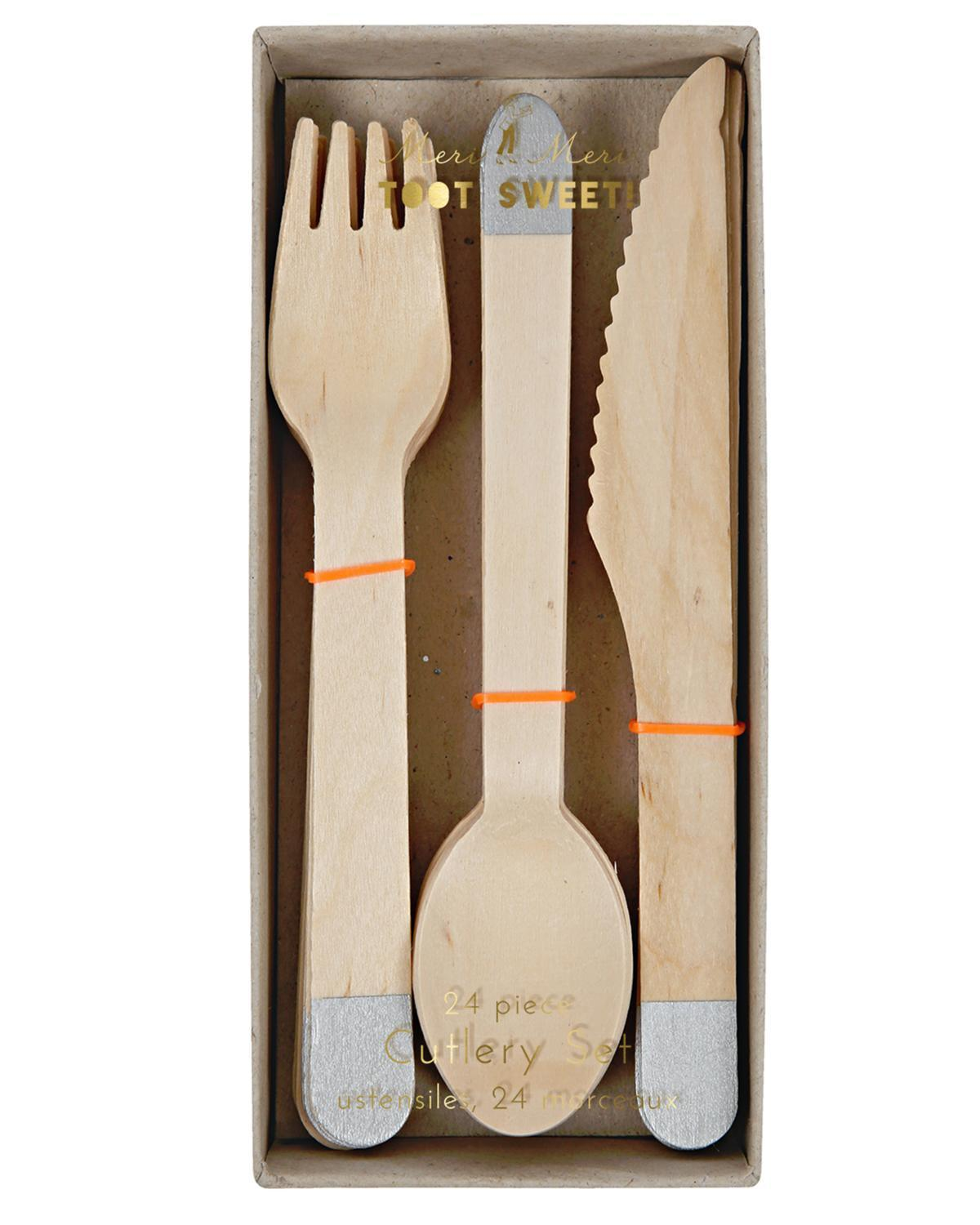 Little meri meri paper+party Wooden Cutlery in Silver