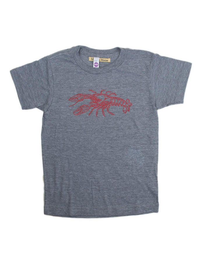 Little milo in maine baby boy 3-6 lobster baby tee in grey + red