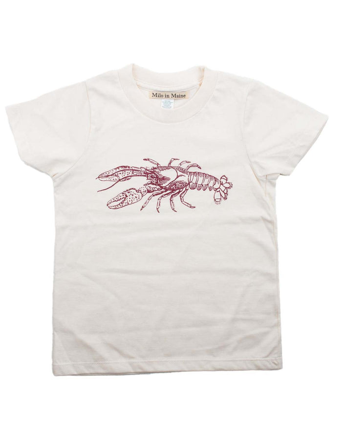 Little milo in maine boy 2 lobster tee in natural + red