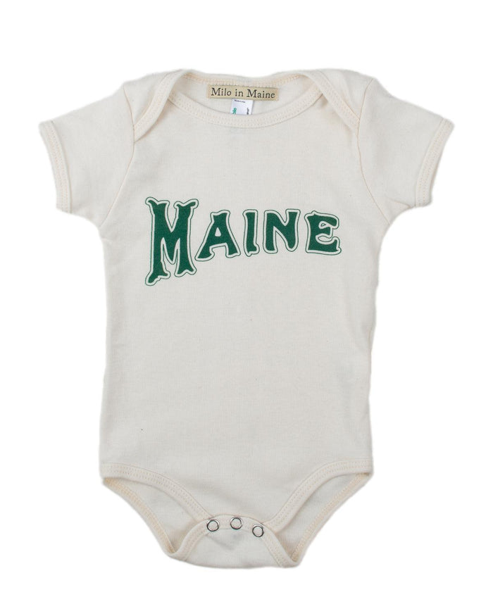 Little milo in maine baby boy 3-6 maine onesie in natural + green