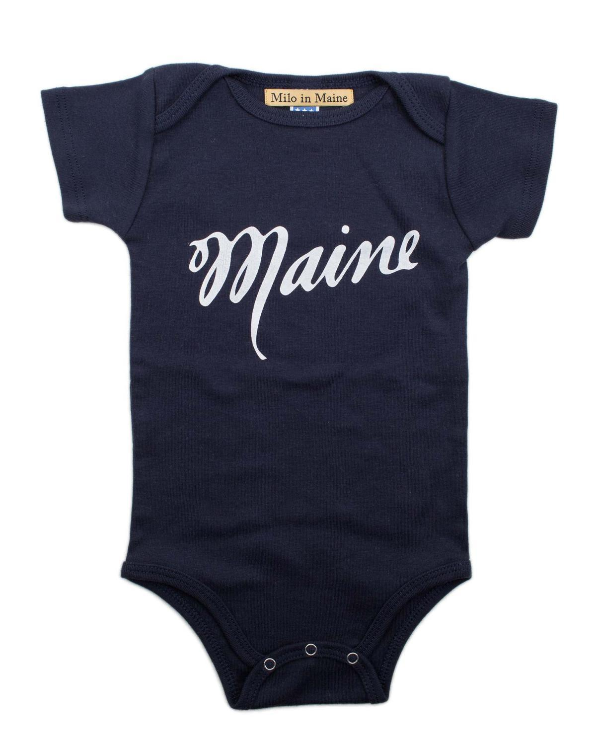 Little milo in maine baby boy 3-6 maine onesie in navy + white