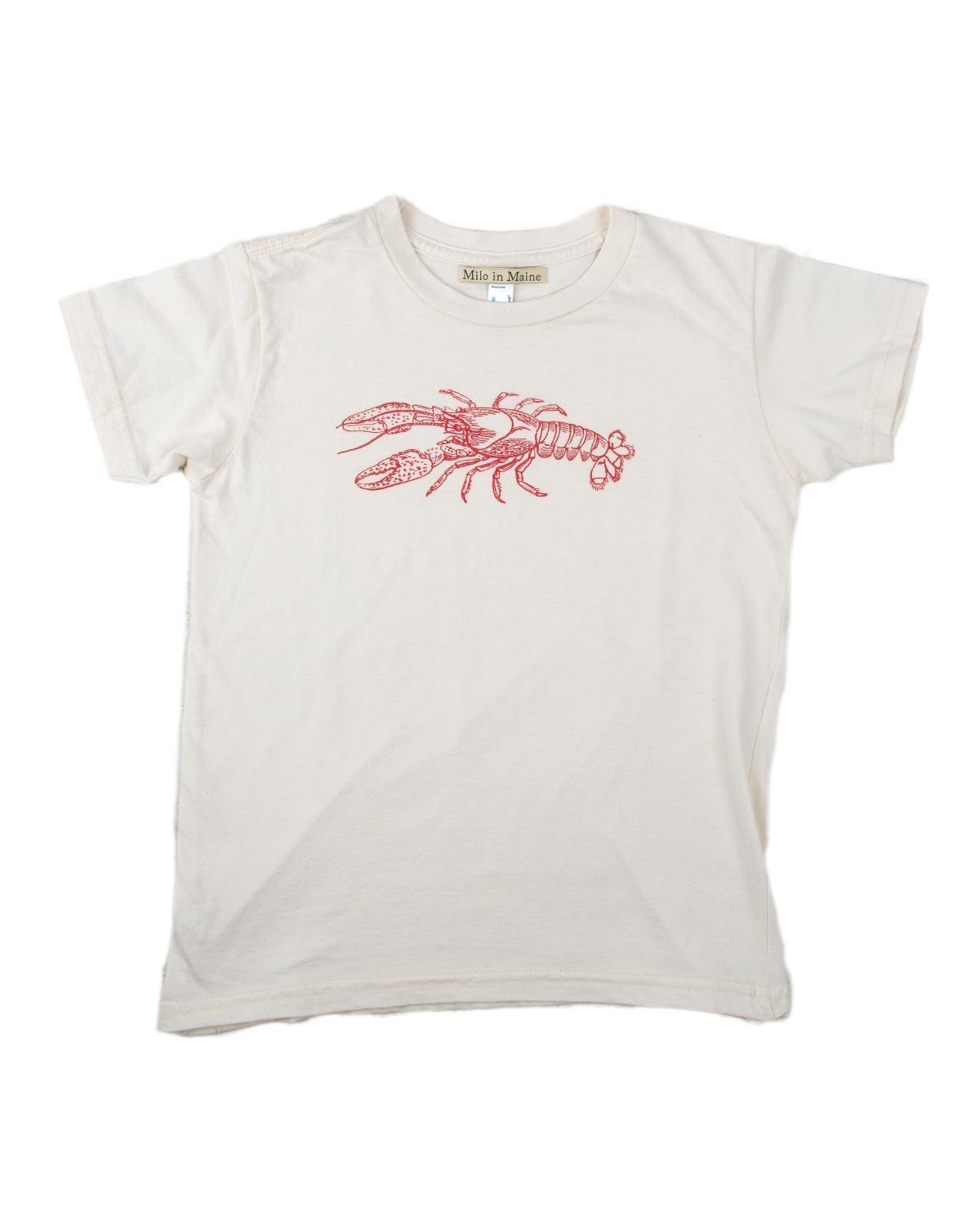 Little milo in maine baby boy 3-6 S/S Baby Lobster Tee in Natural + Red