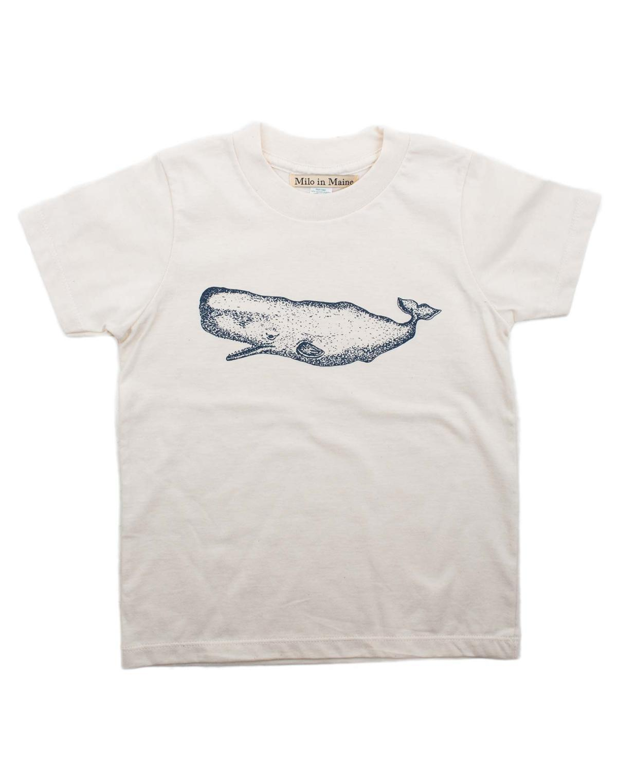Little milo in maine boy 2 whale tee in natural + navy