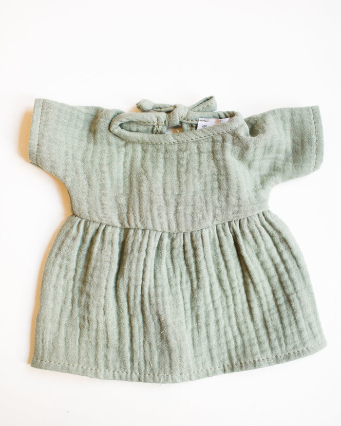 Little minikane play faustine double cotton dress in vert olive