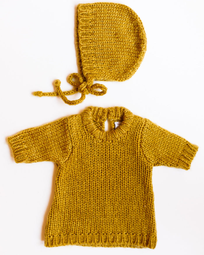 Little minikane play gasparine wool set in moutarde