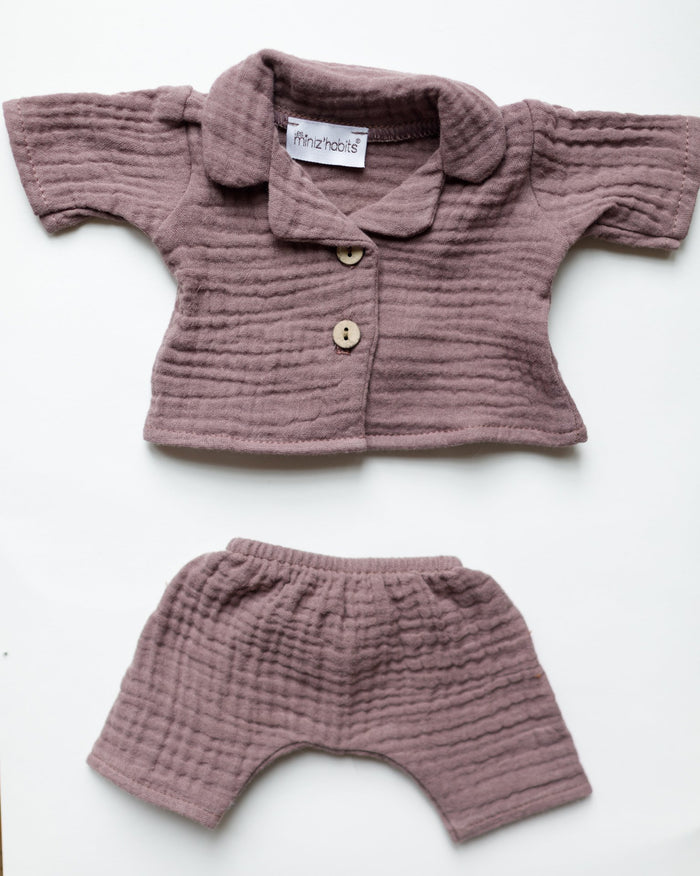 Little minikane play laura double cotton gauze pajama in rose orchidée