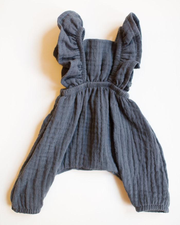 Little minikane play maya double cotton gauze jumpsuit in gris anthracite