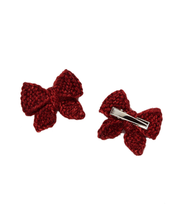 Little misha + puff accessories baby puff bow set in brick