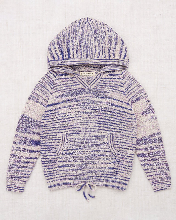 Little misha + puff girl chevron hoodie in blue space dye