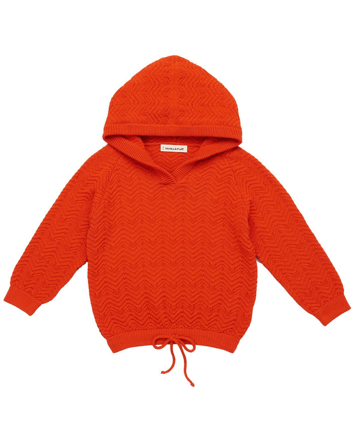 Little misha + puff girl chevron hoodie in crimson red