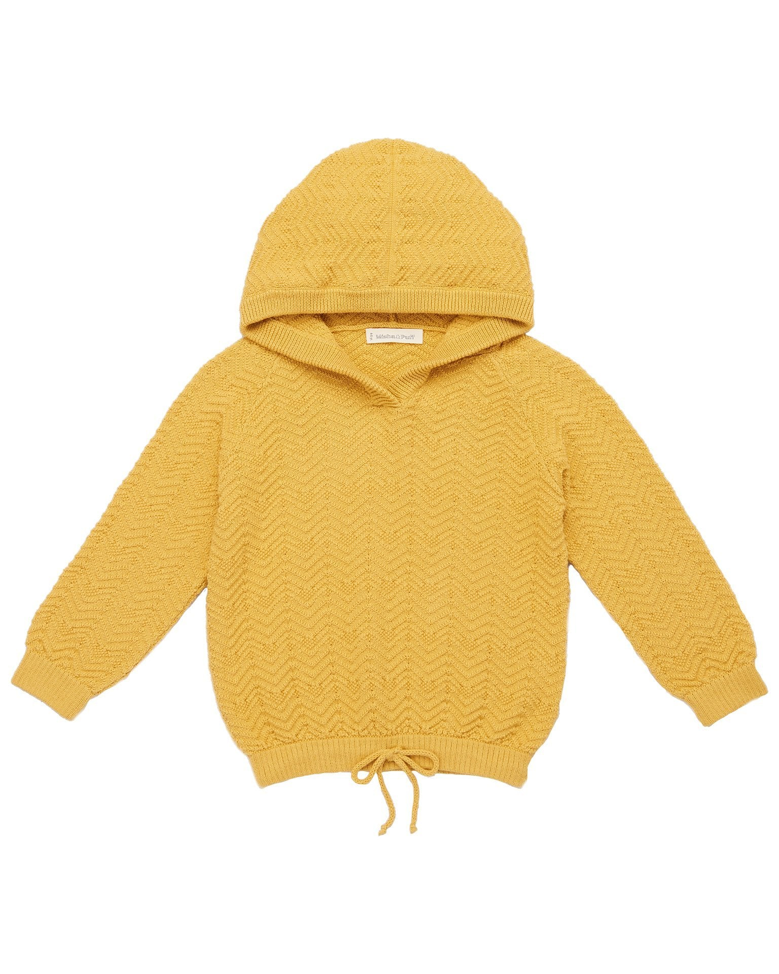 Little misha + puff girl chevron hoodie in ochre