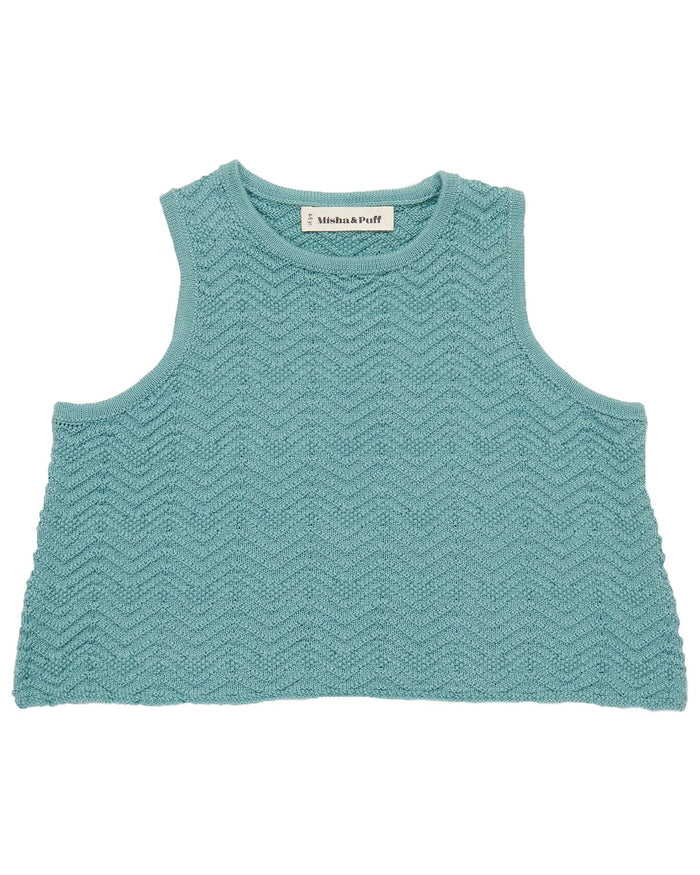 Little misha + puff girl chevron tank in dusty blue