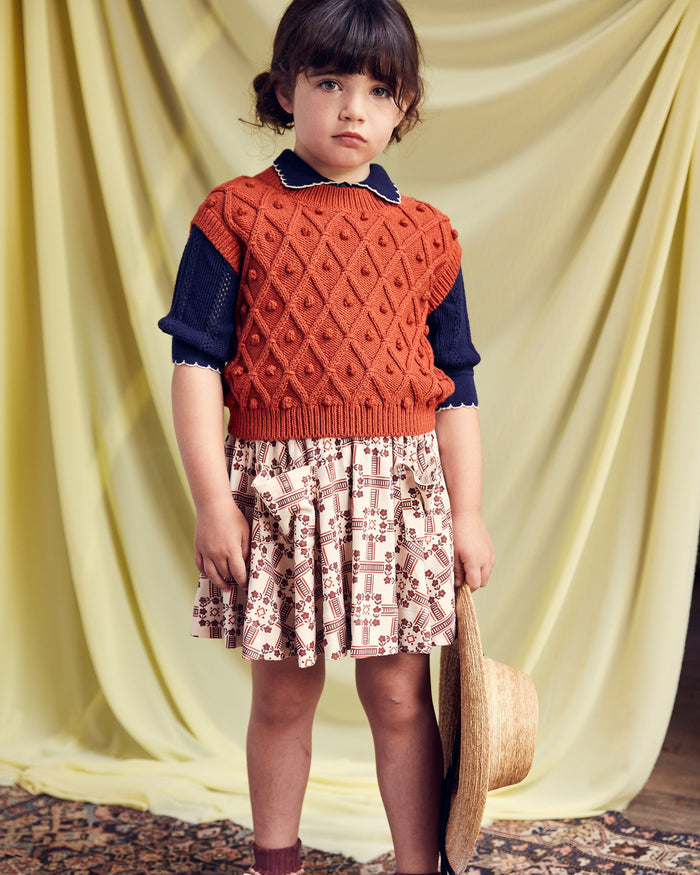 Little misha + puff girl circle skirt in railroad floral