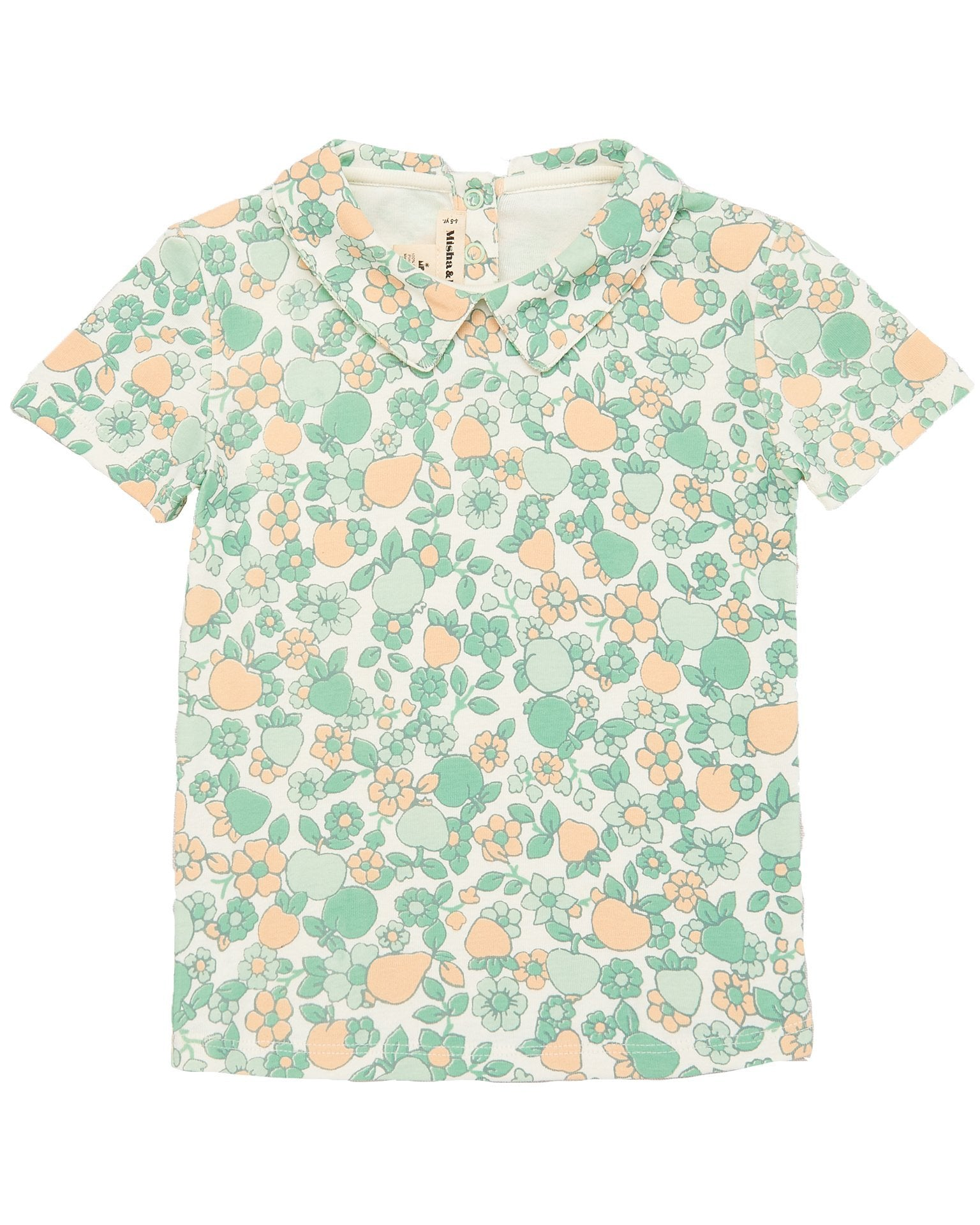 Little misha + puff girl collar tee in mint orchard print
