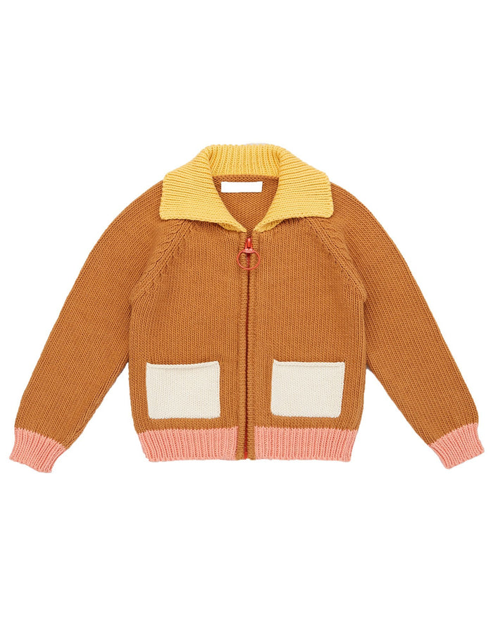 Little misha + puff boy colorblock cardigan in caramel