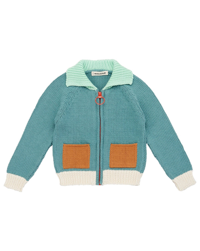 Little misha + puff boy colorblock cardigan in dusty blue
