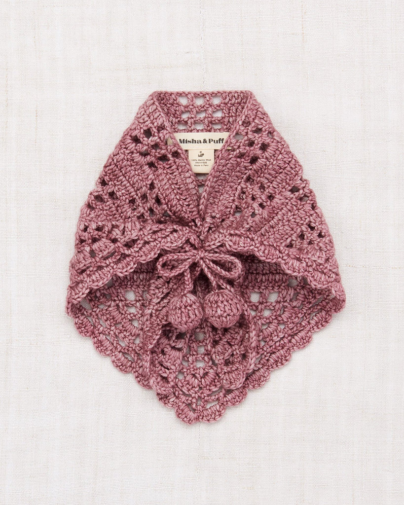 Little misha + puff accessories one size crochet kerchief in antique rose