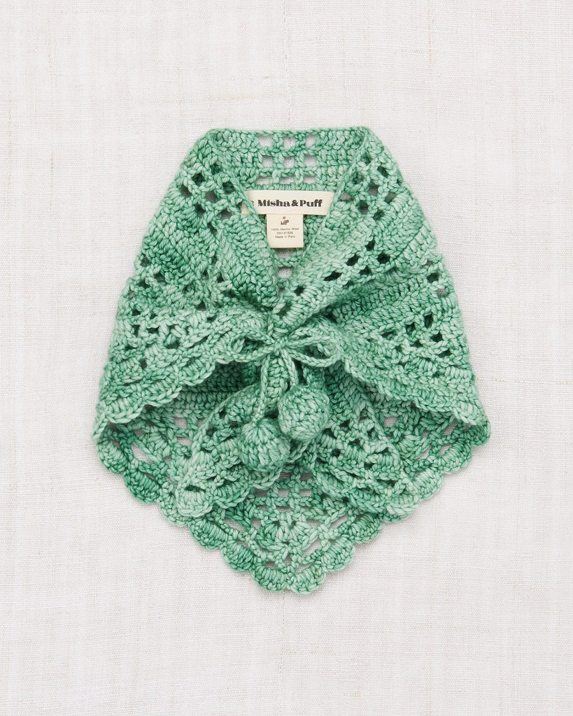 Little misha + puff accessories one size crochet kerchief in celadon