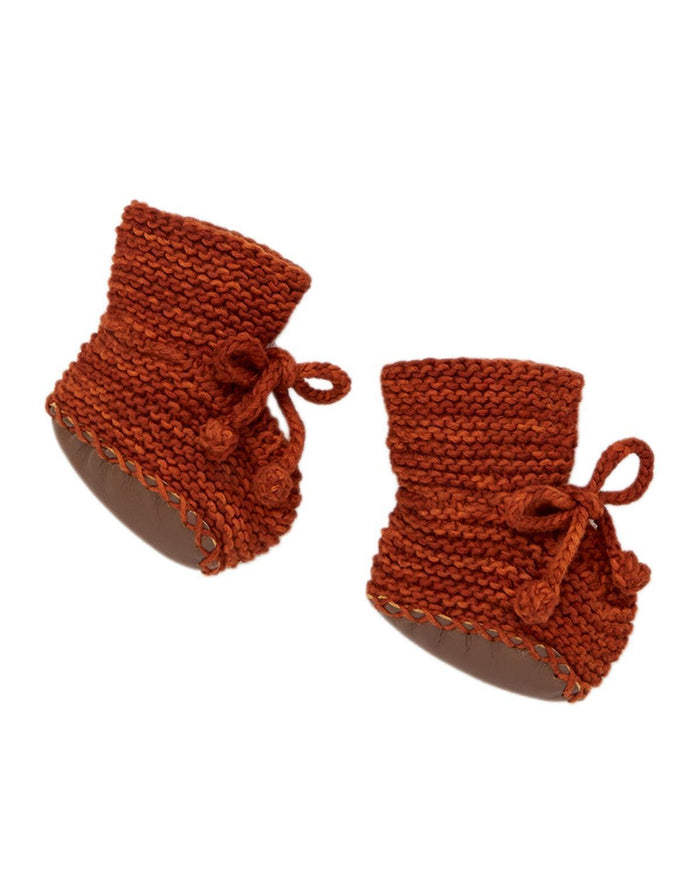 Little misha + puff baby accessories 0-6 day hike booties in rust