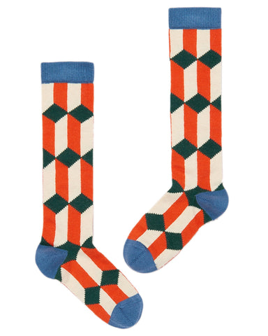 Little misha + puff accessories diamond knee socks in hot red multi