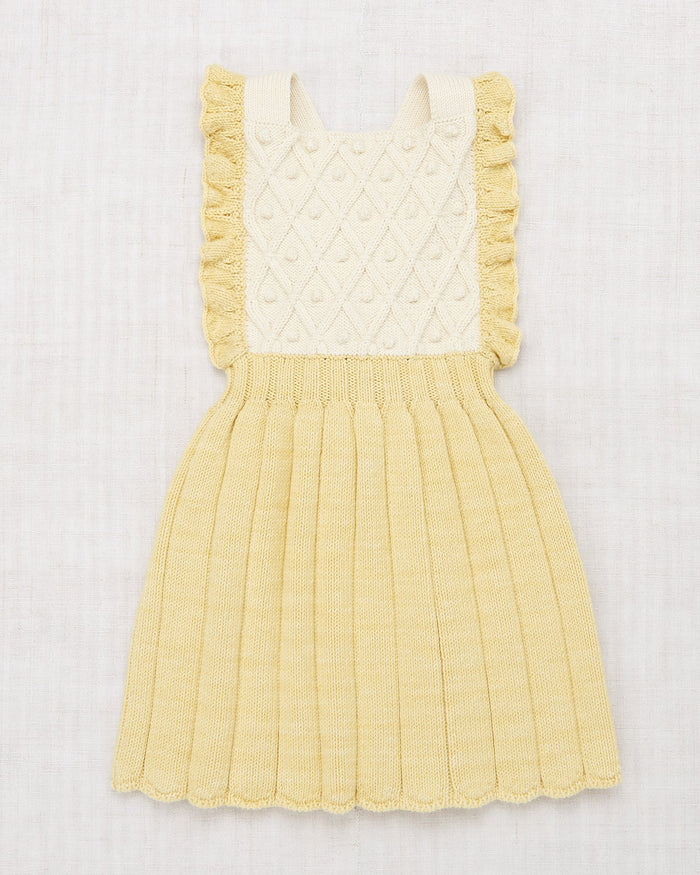 Little misha + puff girl diamond popcorn pinafore in straw