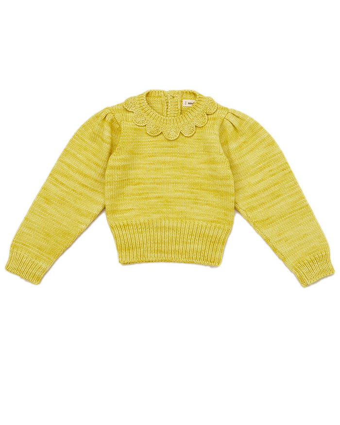 Little misha + puff girl ellie scallop pullover in dijon