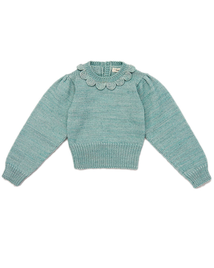 Little misha + puff girl ellie scallop pullover in sage
