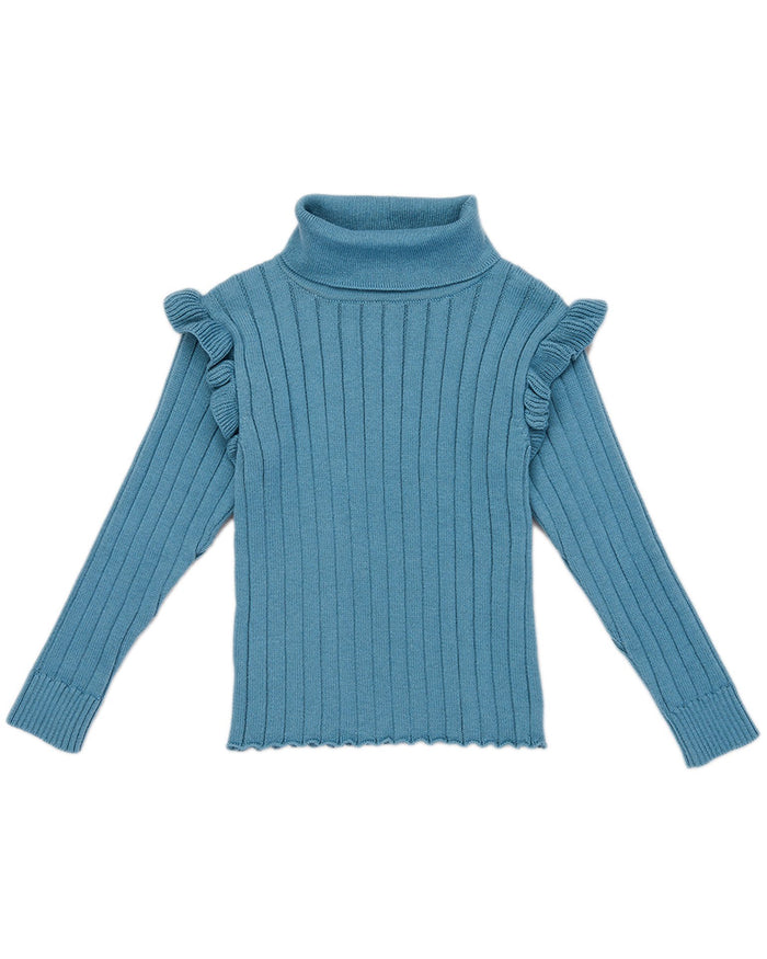 Little misha + puff girl ida ruffle turtleneck in blue smoke
