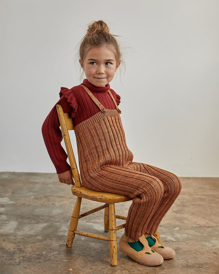 Little misha + puff girl ida ruffle turtleneck in brick