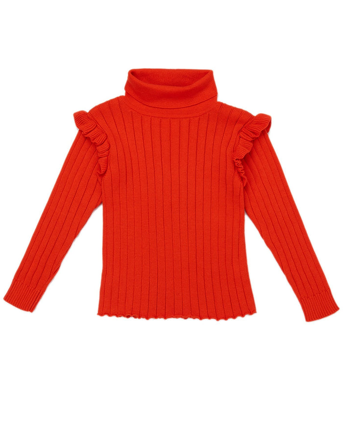 Little misha + puff girl ida ruffle turtleneck in hot red