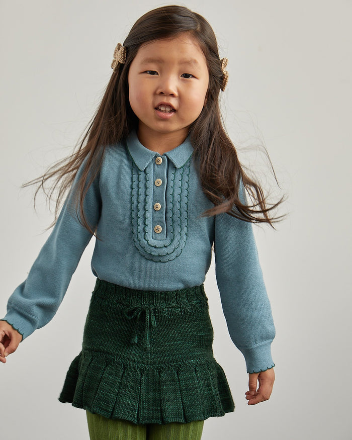 Little misha + puff boy janis scallop henley in blue smoke