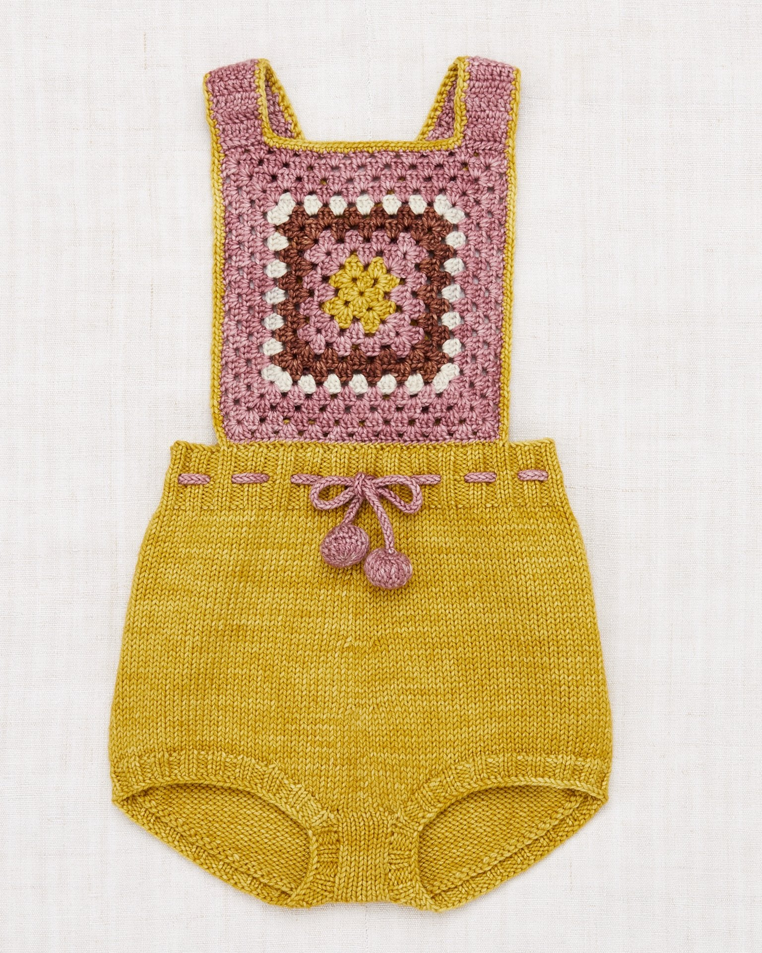 Little misha + puff baby girl lake house romper in antique rose