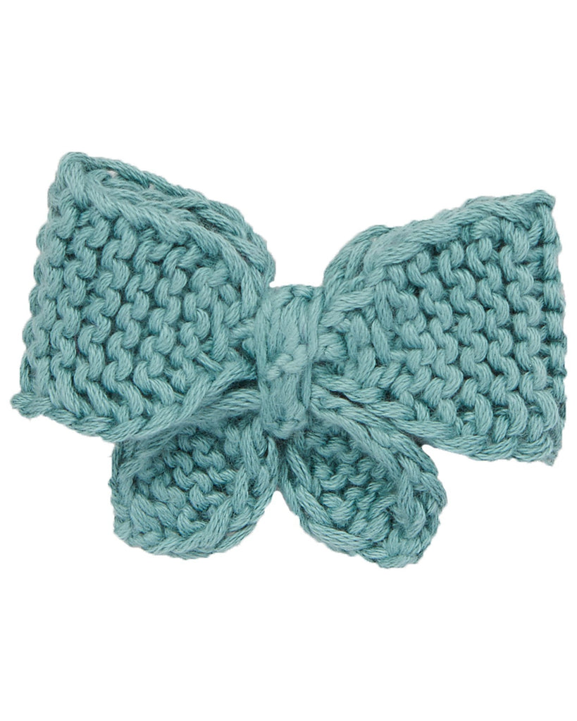 Little misha + puff accessories medium puff bow in dusty blue