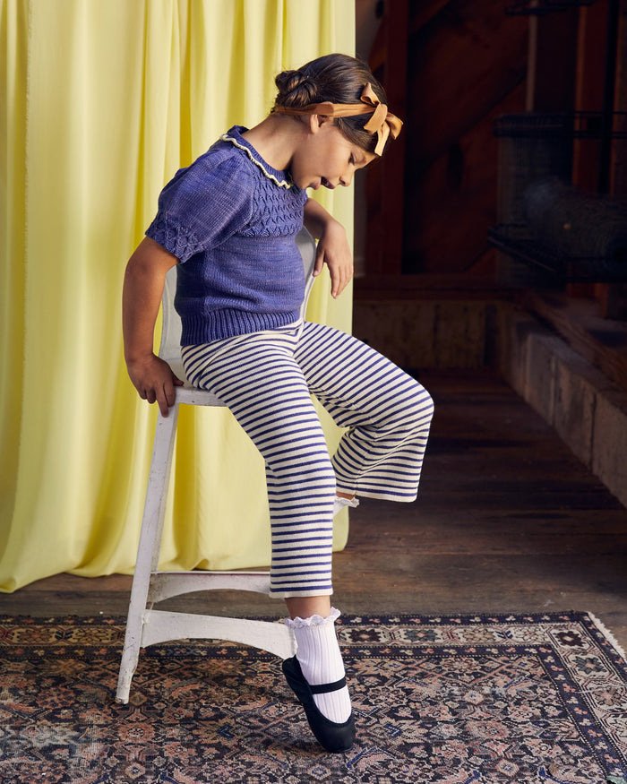 Little misha + puff girl mini stripe bell pant in blue violet
